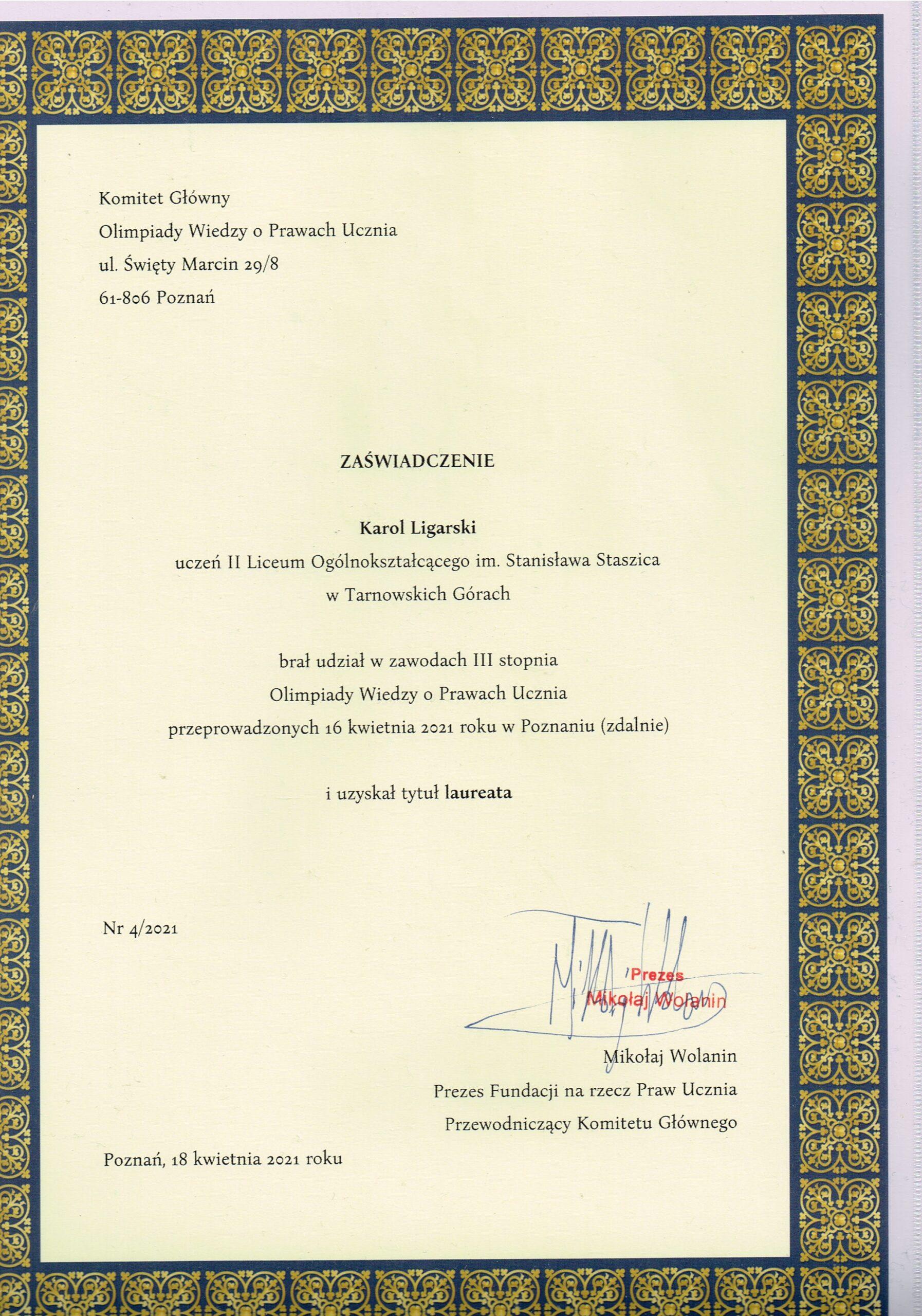 Karol Ligarski laureatem Olimpiady Wiedzy o Prawach Ucznia